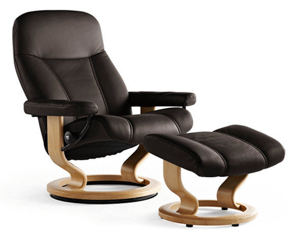 Stressless Ambassador leather recliner and ottoman